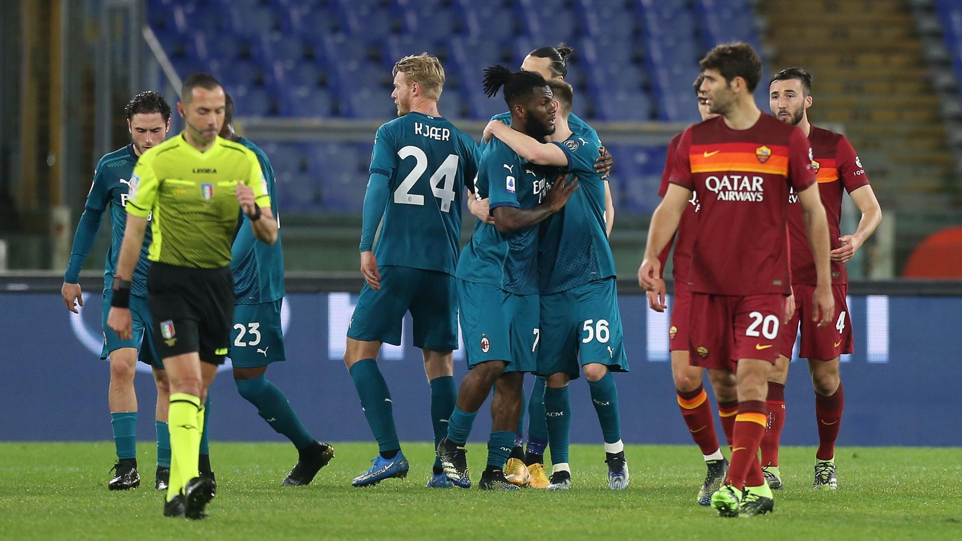 Roma-Milan 1-2: Kessié e Rebic, l'Inter resta a -4