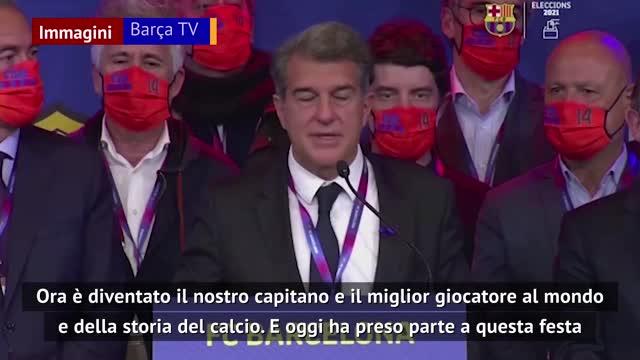 """Laporta: """"Spero Messi resti al Barça"""""""